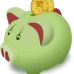 A green piggy bank with a coin going in, illustrating saving for America Saves Week.